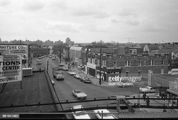 Elevated view of a street corner in the heart of Corona Queens NYC