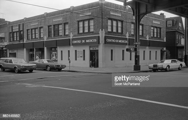 Street view of a Spanish Medical Center and other small businesses along Roosevelt Avenue in Corona Queens