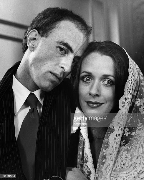 Poet and writer Bob Calvert of rock group Hawkwind and writer Pamela Townley on their wedding day at Caxton Hall
