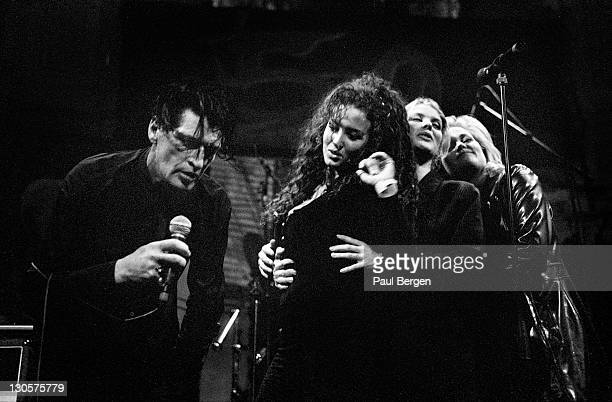 Dutch singer Herman Brood performs live on stage to celebrate his 50th birthday party at Paradiso in Amsterdam Netherlands on 5th November 1996