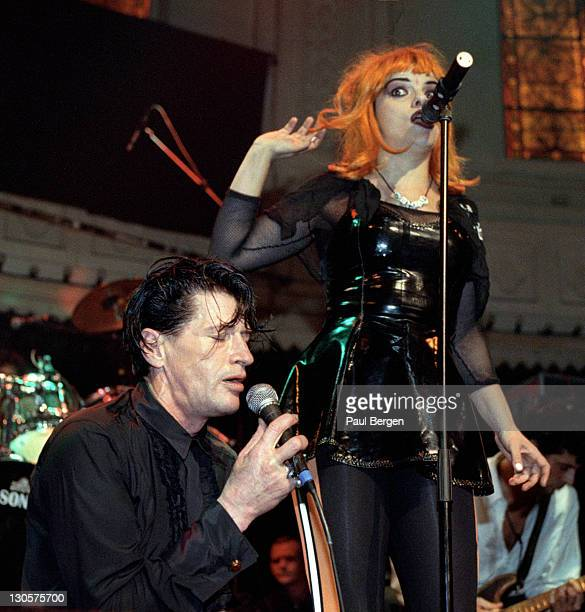 Dutch singer Herman Brood performs live on stage with German singer Nina Hagen to celebrate his 50th birthday party at Paradiso in Amsterdam...