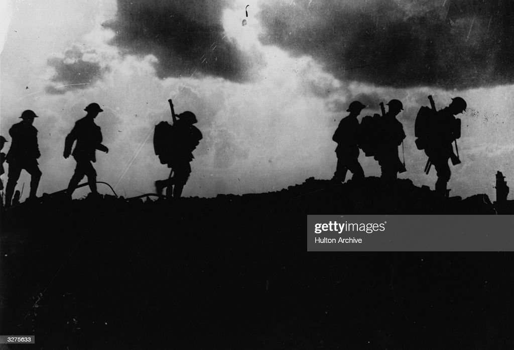 British troops moving up to the trenches, 2.5 miles East of Ypres.