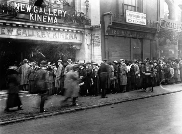 Crowds wait to enter the New Gallery cinema.
