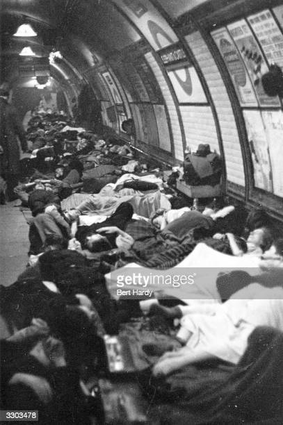 People using the platform of a tube station in London as an air raid shelter Original Publication Picture Post 319 This Is A London Tube Station pub...