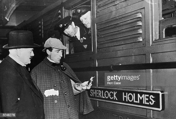 A locomotive named Sherlock Holmes gets a visit from a man dressed as its namesake the famous fictional detective at Baker Street Station in London...