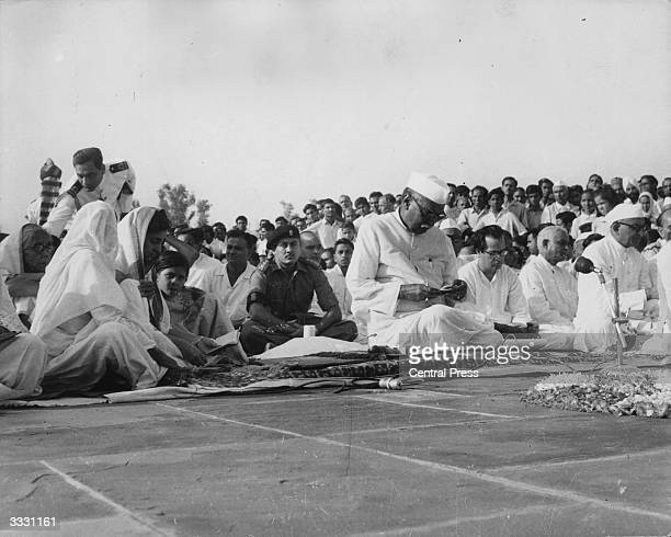 President of the Republic of India Dr Rajendra Prasad his wife Rajvanshi Devi and Shrivati Indra Gandhi with cabinet ministers and members of the...