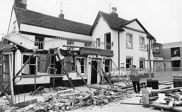 The Horse and Groom Public House after the IRA exploded a bomb on the 4th October 1974 Five members of the public were killed