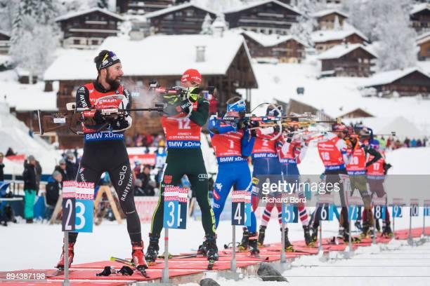 5th place Benjamin Weger of Switzerland shoots during the IBU Biathlon World Cup Men's Mass Start on December 17, 2017 in Le Grand Bornand, France.