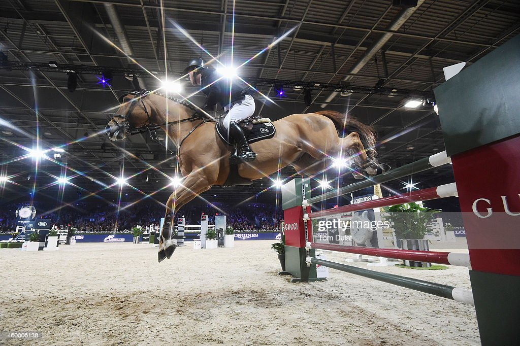 5th place finisher Gerco Schroder from Netherlands rides Glock's Prince de Vaux at the Longines Speed Challenge Prix class as part of the Gucci Paris Masters 2014 on December 5, 2014 in Villepinte, France.