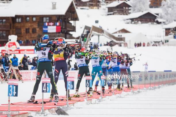 5th place Vanessa Hinz of Germany, 4th place Anastasiya Kuzmina of Slovakia, 3rd place Laura Dahlmeier of Germany and 6th place Anais Chevalier of...