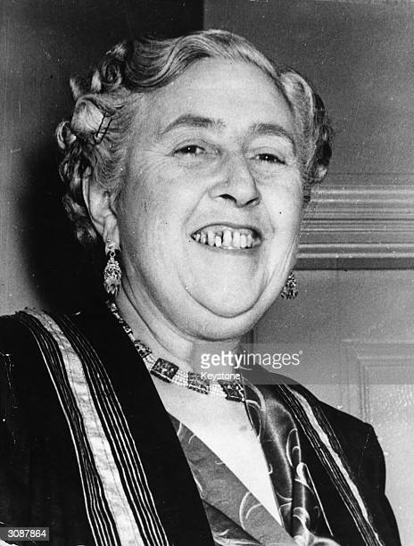Thriller writer Agatha Christie at the first night of her new play 'Towards Zero' at the St James's theatre London