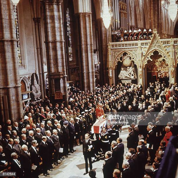 The funeral procession of Lord Louis Mountbatten through Westminster Abbey in London Mountbatten the last British Viceroy of India was killed when an...