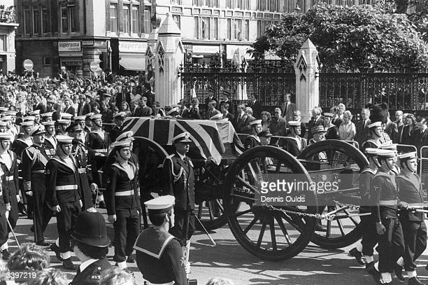 The funeral procession of The Admiral of The Fleet Lord Louis Mountbatten of Burma who died in an IRA bomb attack in Ireland
