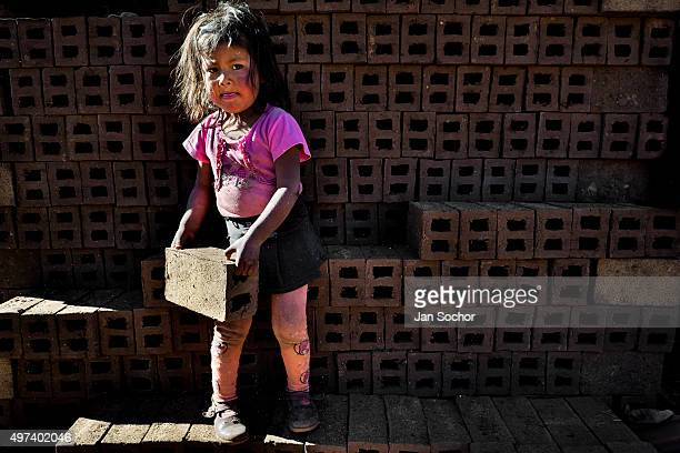 A 5yearold Peruvian girl carries bricks at a brick factory located in the outskirts of Puno on August 06 2012 in Puno Peru Child labour is a common...