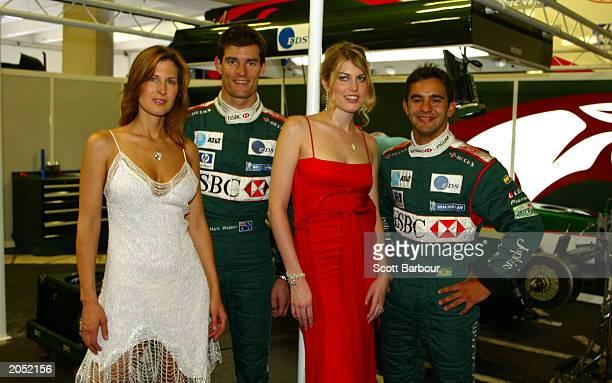 Model Julienne Davis wearing Steinmetz�s 51carat internally flawless heartshaped diamond necklace Jaguar driver Mark Webber model Meredith Ostrum...