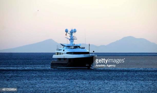 60m luxury motor yacht ''Kaiser'' of Ukrainian businessman Oleksandr Yaroslavsky drops anchor off in Bodrum district of Mugla Turkey on June 24 2014...