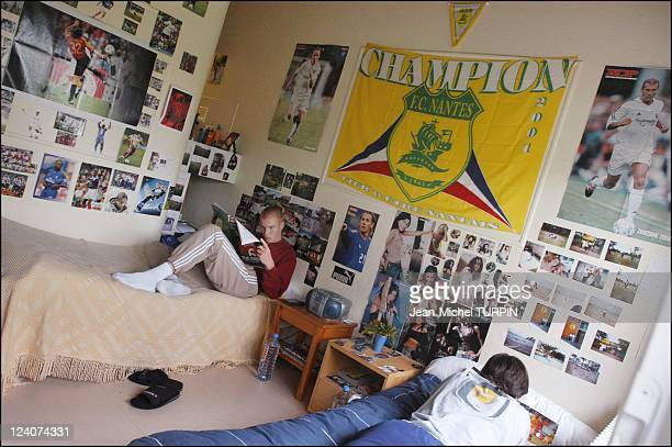 60th birthday of the football club de Nantes, France In May, 2003 - Training center of la Jonneliere, students in their bedroom.