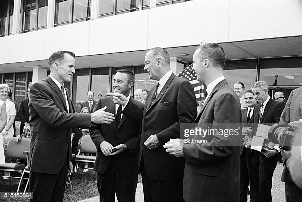 6/11/1965Houston TX President Lyndon B Johnson presents lieutenant colonel leaves to astraunauts Edward White Virgil I Gus Grissom and James A...