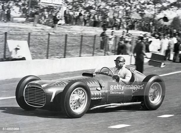 """Albi, S. France: Juan Manuel Fangio warms up in his """"BRM"""" before the Grand Prix D'Albi race being held May 31 in Albi, southern France. Fangio, a big..."""