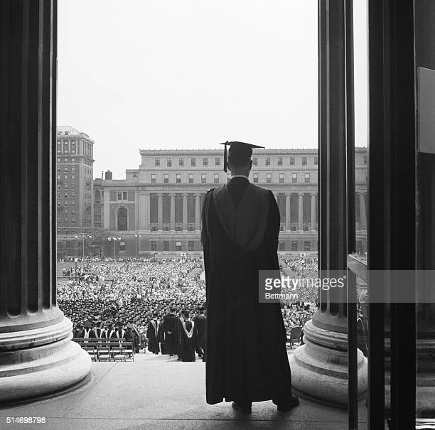 New York, NY: The big moment has arrived for this scholar, who pauses for a moment of reflection before taking his place with the other degree...