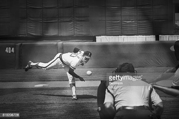 Anaheim, CA- California Angels' Nolan Ryan works from the mound during ninth inning action here 6/1 where he threw the fourth no-hitter of his...