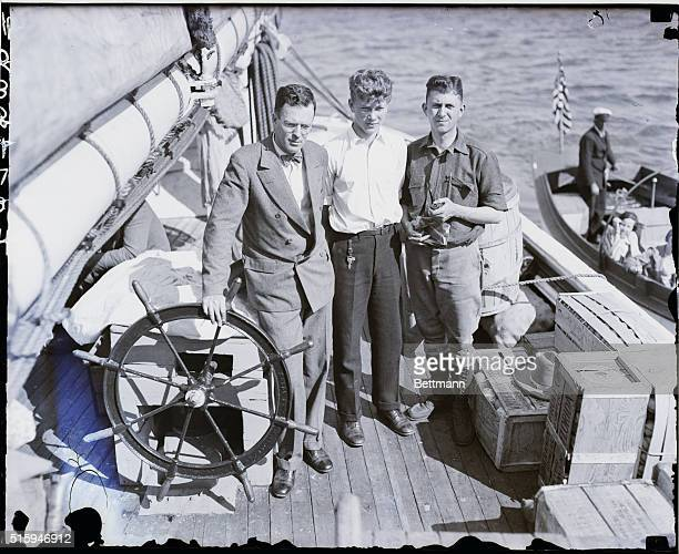 This trio was part of the company that sailed for Baffin Land yesterday. They are l to r, Professor L.H. Gould, geographer of the expedition; David...