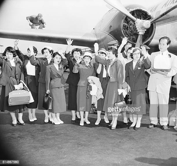 6/12/1956New York NY Ten Hiroshima Japan young women scarred in the Atomic Bombing during World War II left New York today 'with feelings of sadness...