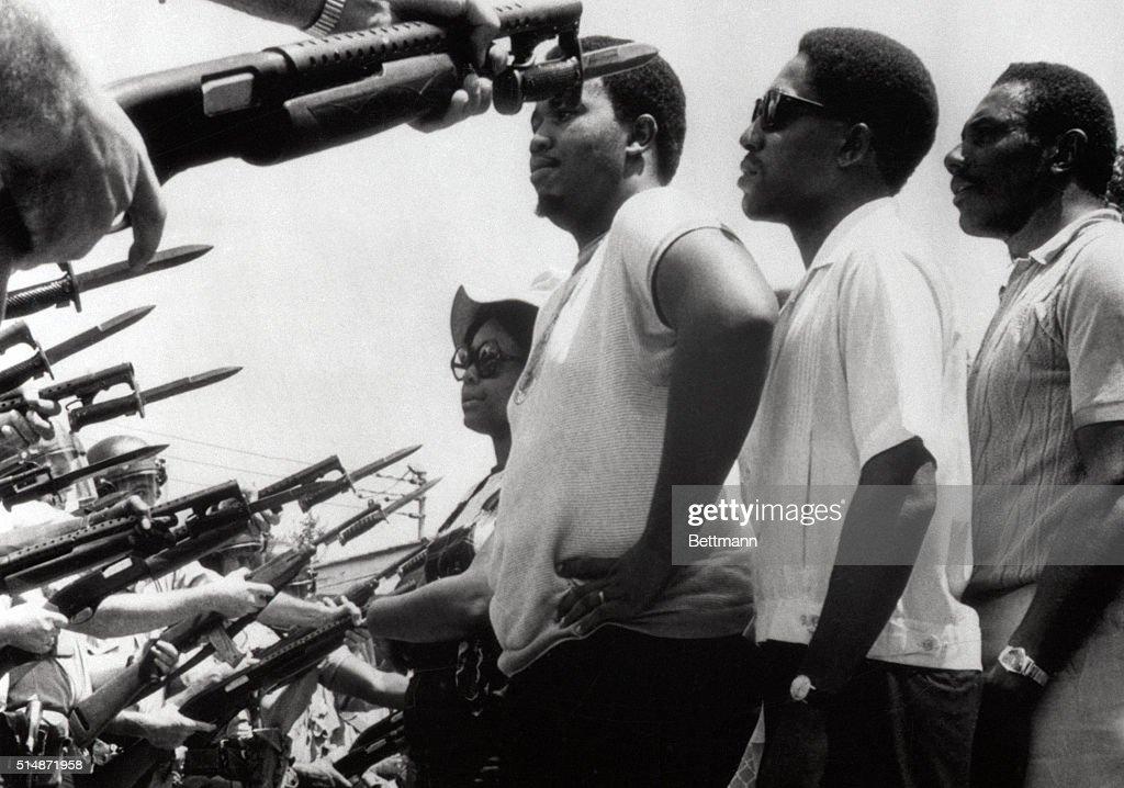 Civil Rights Marchers Facing Bayonets : News Photo