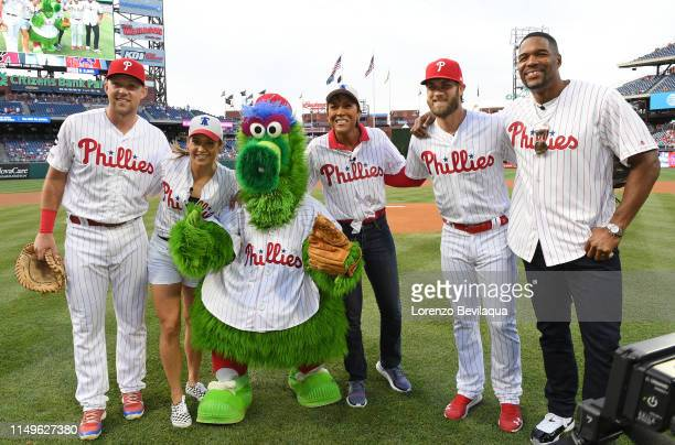 19Robin Roberts, Michael Strahan and Ginger Zee visit Citizens Bank Park in Philadelphia, PA to throw out the first pitch as the Phillies play the...