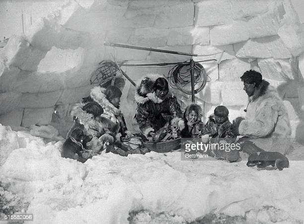Here is the first photo shows the actual construction and interior of igloos made by Eskimos