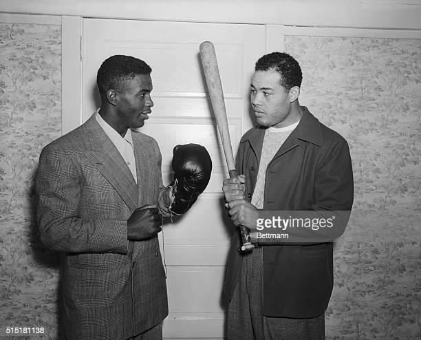 6/14/1946Pompton Lakes NJ Heavyweight champion Joe Louis and Jackie RobinsonexUCLA football star and former U S Amry Leiutenantwho has achieved the...