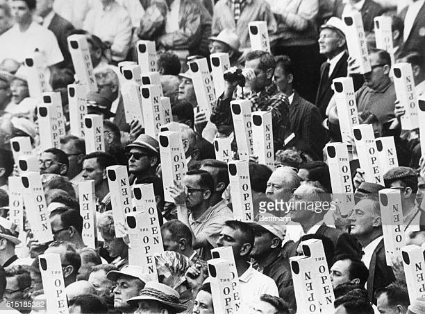 6/14/1962Oakmont PA It's periscopes up for gallery spectators watching the National Open at the Oakmont Country Club All eyes are focused on Gene...