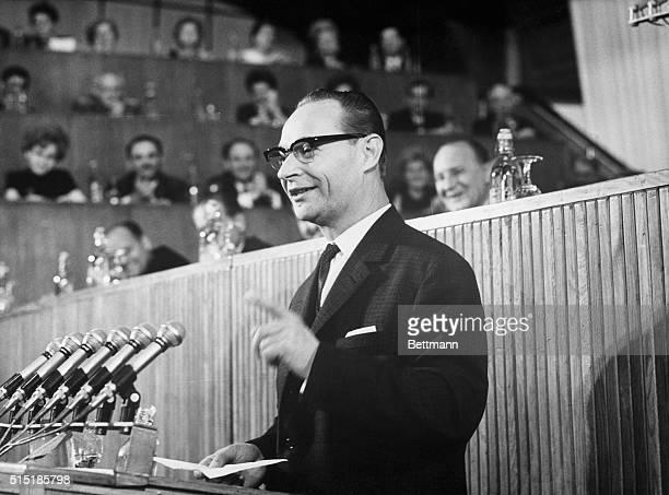 6/14/1968Budapest Hungary Czechoslovak First Secretary Alexander Dubcek addresses a CzechoslovakHungarian friendship rally in Budapest Mr Dubcek is...