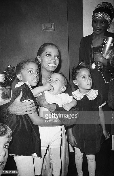 6/14/1976New York NY Diana Ross spends some time with her daughters backstage at the Palace Theater in New York June 14 Miss Ross opened her musical...