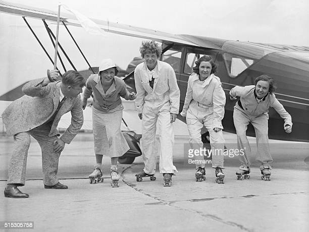 6/15/1933Long Island NY SL Willits chief inspector of the Department of Commerce Aeronautics Branch acts as starter for the practice roller skating...