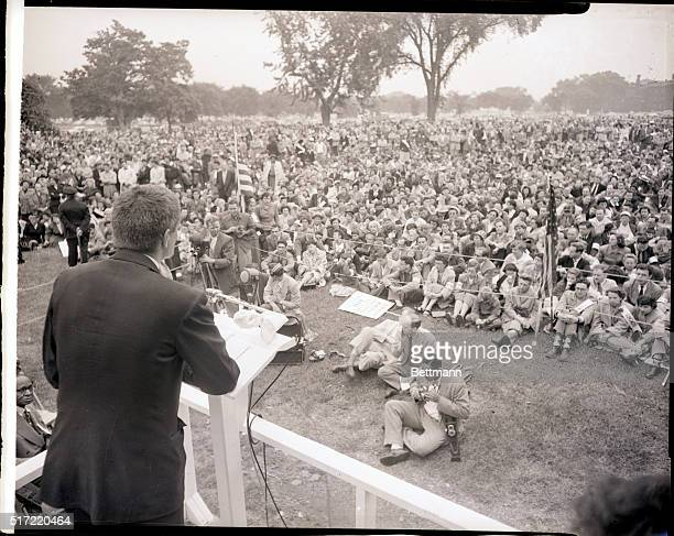 6/15/1953Washington DC At a prayer rally near the Justice Department Rev Amos Murphy of Boston speaks to some of the hundreds of persons taking part...