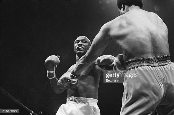 Uniondale, NY- Joe Frazier suffers at the hands of George Foreman in the first round of a bout between the two former heavyweight champions at the...