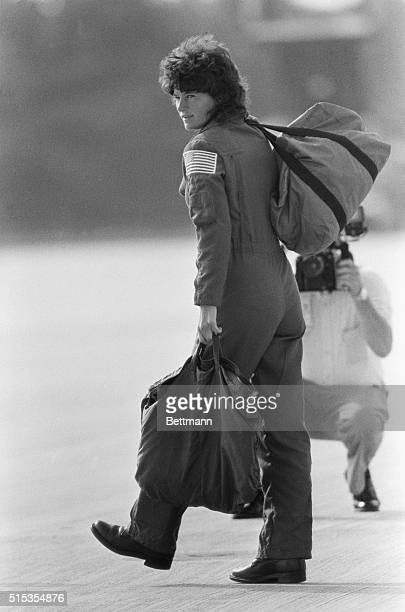 6/15/1983Cape Canaveral FL Astronaut specialist Sally Ride toting her bags and luggage walks from the t38 jet trainor following her arrival at the...