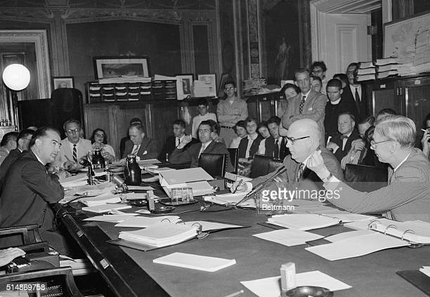 Washington, D.C.: Senator Joseph McCarthy questions Dr. James Conant , U.S. High Commissioner for Germany, at a Senate Appropriations subcommittee...