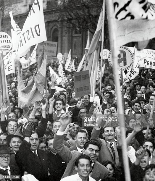 6/16/1955Buenos Aires ArgentinaThis is a closeup of part of the mob of several thousand gathered in the Plaza de Mayo during the general strike...