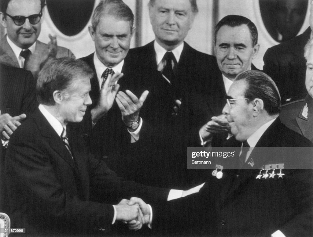 Jimmy carter and leonid brezhnev at salt ii signing pictures getty us secretary of state cyrus vance l background and soviet minister of foreign platinumwayz