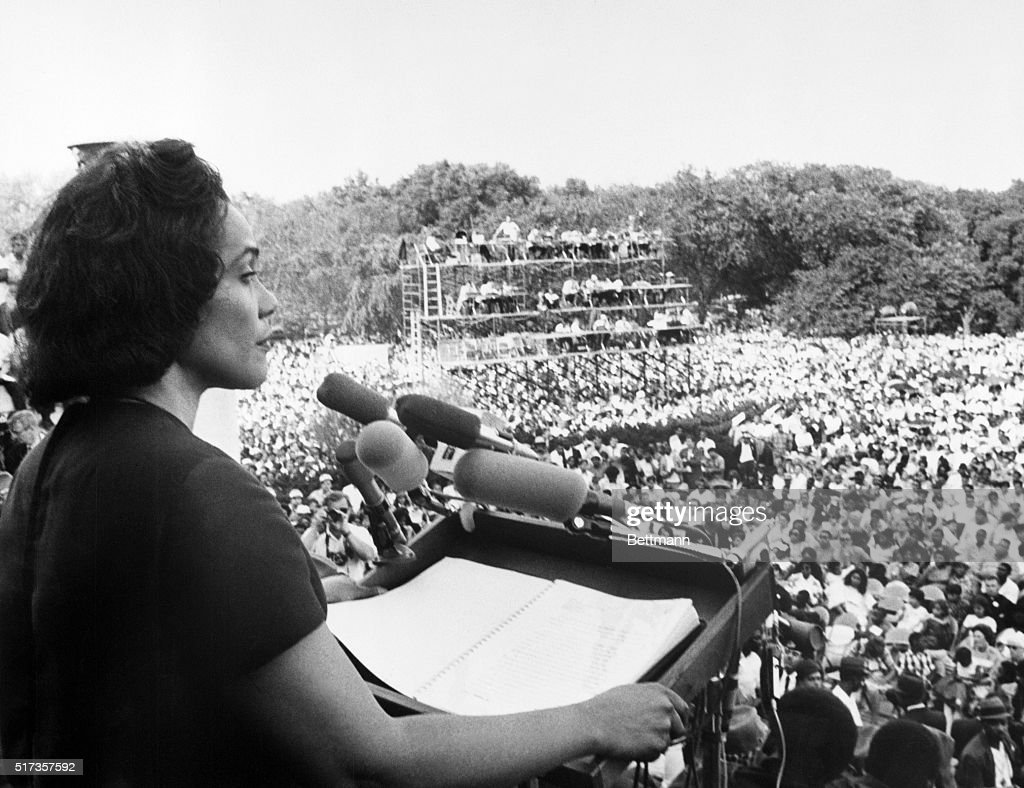 Mrs. Martin Luther King Jr., widow of the slain civil rights leader, addresses the 'Solidarity Day' rally of the Poor People's Campaign from the steps of the Lincoln Memorial. She told the nearly 50,000 persons gathered that 'racism, poverty, and war' had combined to make matters worse for poor black and white alike.