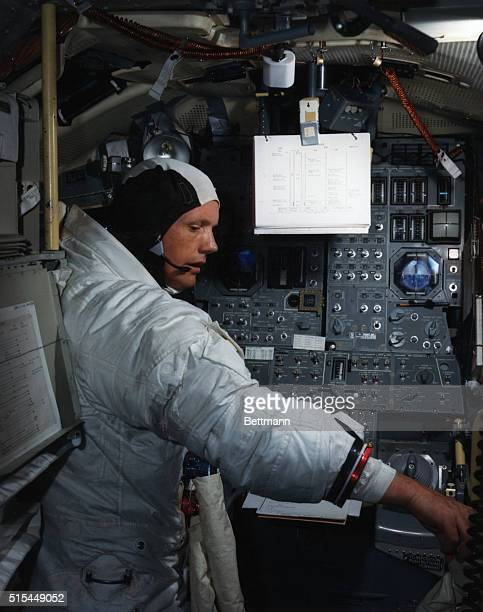 6/19/1969Kennedy Space Center FL Apollo 11 Commander Neil Armstrong is going through flight training in the lunar module simulator situated in the...