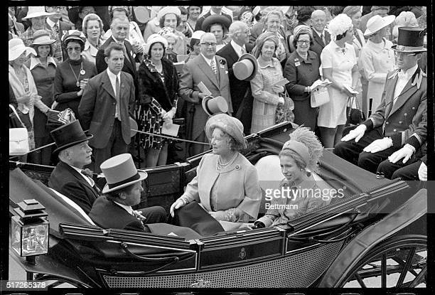 6/19/1974Ascot England Princess Anne wearing a hat trimmed with ostritch feathers is shown as she arrived 6/19 with her grandmother the Queen Mother...