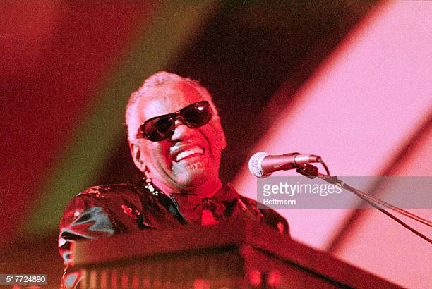 Hollywood, California: After two days of wall-to-wall jazz, Ray Charles brought the Hollywood Bowl sellout crowd to their feet as he closes the 1988...