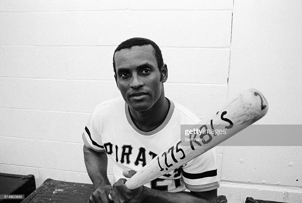 Roberto Clemente Holds Bat With RBI Statistic : News Photo