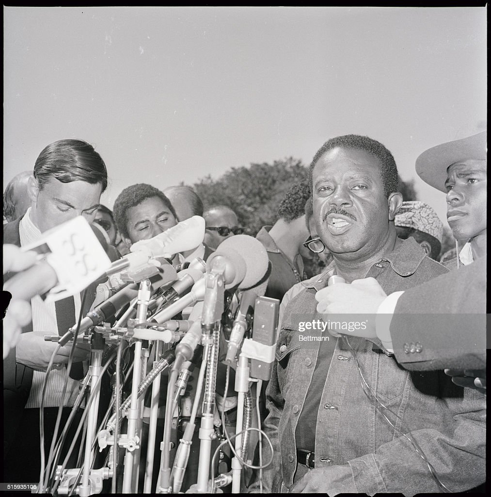 Washington, D.C. - Rev. Ralph Abernathy said 6/21 that his followers will have to be 'carried out' if the Interior Department refuses to extend a permit for the use of parkland for Resurrection City beyond its expiration date 6/23. Abernathy is shown during a news conference at Resurrection City.