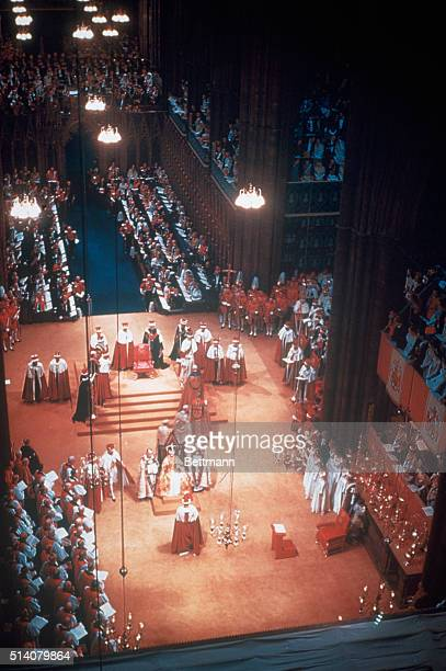 Queen Elizabeth II coronation wearing St Edward's crown and holding rod and scepter UPI color photo