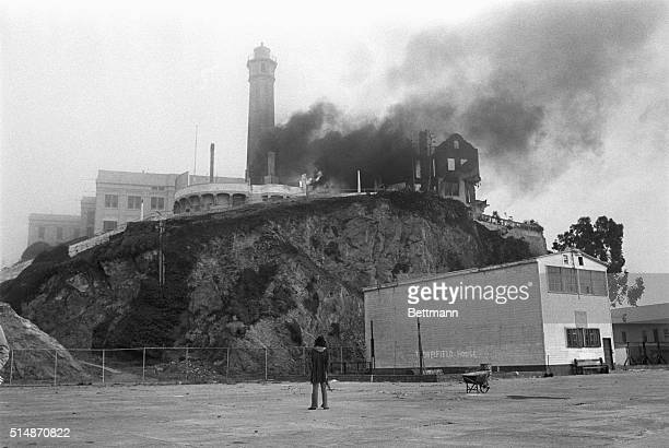 6/2/1970San Francisco CA View of the fire which burned most of the night on Indianoccupied Alcatraz Island destroying the lighthouse warden's home...