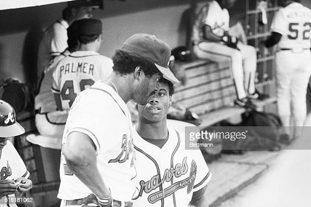 6/2/1987Atlanta GA Ken Griffey Jr the nation's number one draft pick who is headed to the Seattle Mariners has a dugout chat wth his dad Ken Griffey...